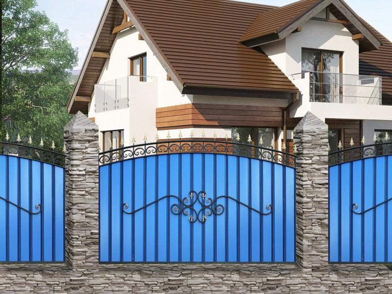 Кованый забор с металлопрофилем МПА