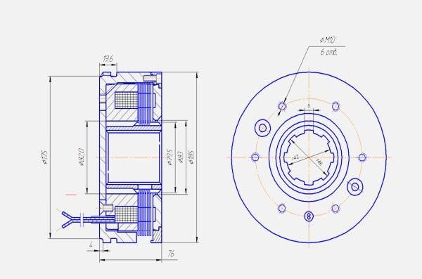 Тормозная муфта Э1ТМ 6 тормозного исполнения Тормозная муфта Э1ТМ 6 тормозного исполнения